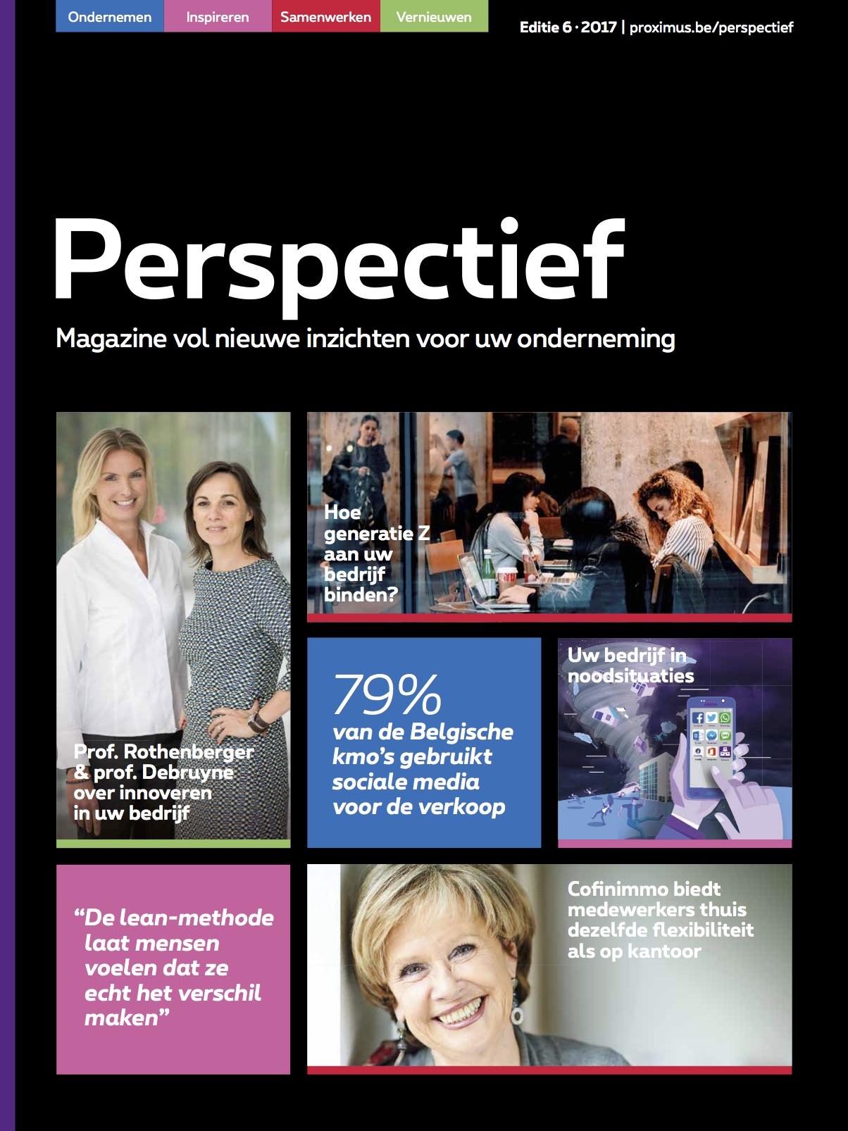 Proximus Perspectief - B2B magazine van Proximus gericht op bedrijfsleiders van kmo's. Redactie en interviews met bedrijfsleiders en experts in innovatie.